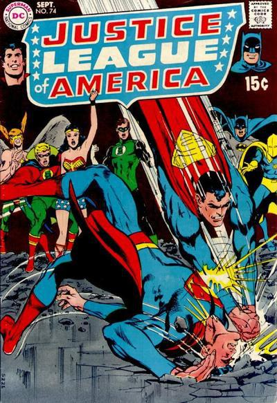 Supermen of two Earths battle on the cover of Justice League of America #74 (1969)!