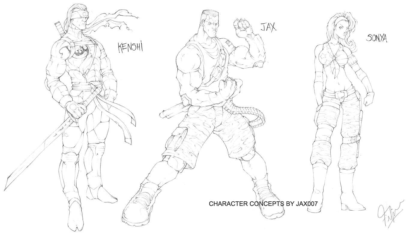 Character concepts: Kenshi, Jax, Sonya - Mortal Kombat Online